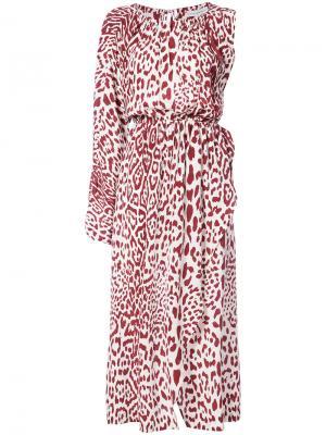 Платье с леопардовым рисунком Robert Rodriguez. Цвет: красный