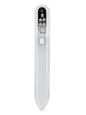 Пилочка стеклянная маникюрная BLACK&WHITE со стразами SWAROVSKI, 1шт, черно-белый, 140 мм SW. Цвет: черный, белый