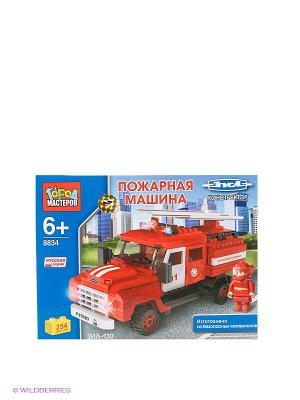 Конструктор Зил-130 пожарная машина Город мастеров. Цвет: синий, красный