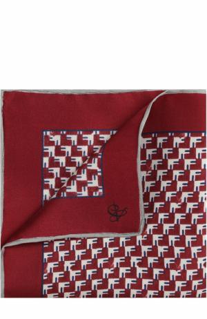 Шелковый платок с принтом Canali. Цвет: бордовый