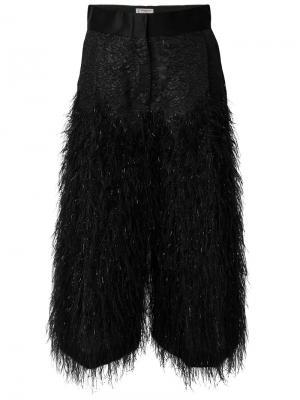 Ворсистые укороченные брюки Alberto Biani. Цвет: чёрный
