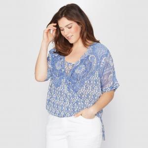 Блузка с запахом кашемировым рисунком TAILLISSIME. Цвет: наб. рисунок синий