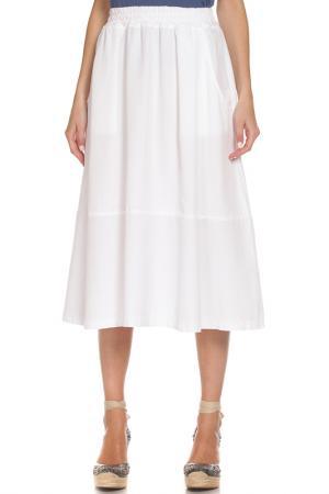 Расклешенная юбка с поясом на резинке EUROPEAN CULTURE. Цвет: белый
