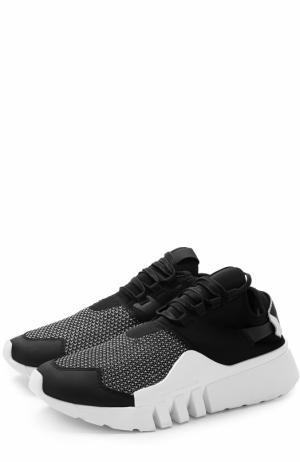 Текстильные кроссовки Ayero на шнуровке Y-3. Цвет: черно-белый