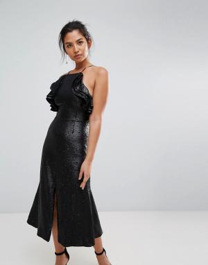 C/meo Collective Платье миди с пайетками. Цвет: черный
