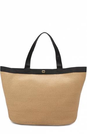Плетеная сумка с косметичкой Eric Javits. Цвет: бежевый