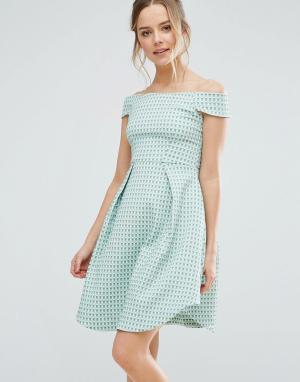 Closet London Фактурное короткое приталенное платье. Цвет: мульти