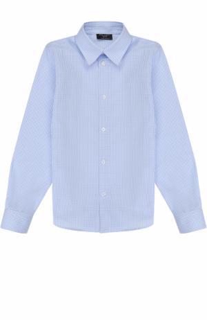 Хлопковая рубашка прямого кроя в клетку Dal Lago. Цвет: светло-голубой