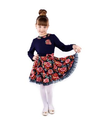 Джемпер, юбка Апрель. Цвет: темно-синий, красный