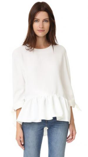 Блузка с плиссированным подолом ENGLISH FACTORY. Цвет: золотой
