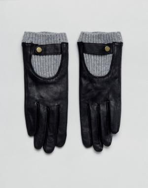 ASOS Кожаные перчатки с манжетами в рубчик. Цвет: черный