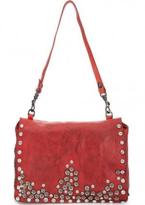 Красная кожаная сумка со съемной ручкой Campomaggi. Цвет: красный