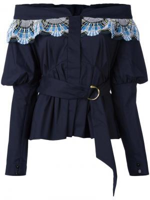 Блузка с открытыми плечами Peter Pilotto. Цвет: синий