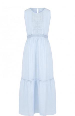 Приталенное льняное платье-миди без рукавов 120% Lino. Цвет: голубой