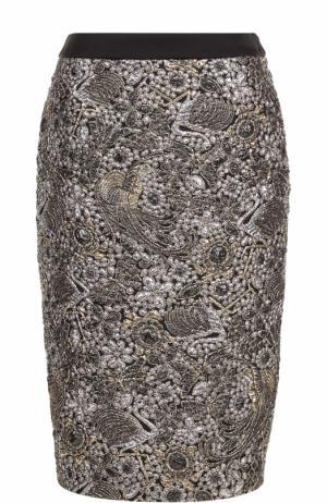 Жаккардовая юбка-миди с контрастным поясом Escada. Цвет: золотой