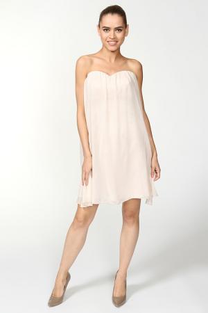 Элегантное платье с вырезом корсаж Mimi la Rue. Цвет: песочный