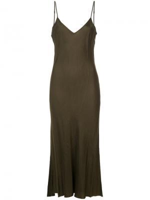 Длинное комбинированное платье Organic By John Patrick. Цвет: зелёный