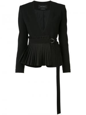 Пиджак с плиссированным подолом и ремнем Yigal Azrouel. Цвет: чёрный