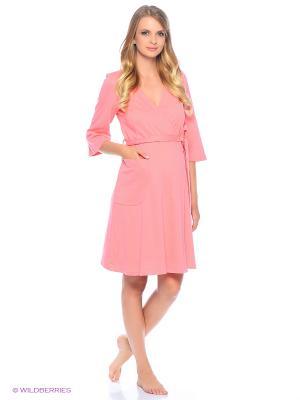 Комплект женский для беременных и кормящих (халат+сорочка) Hunny Mammy. Цвет: коралловый, персиковый