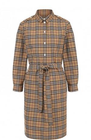 Хлопковое платье-рубашка с поясом Burberry. Цвет: коричневый