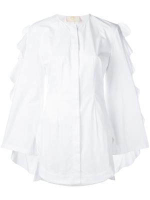 Рубашка с оборками на рукавах Sara Battaglia. Цвет: белый