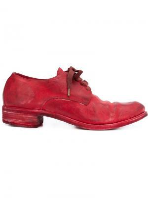 Туфли на шнуровке с потертой отделкой A Diciannoveventitre. Цвет: красный