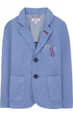 Однобортный пиджак из хлопка с платком и декором Aletta. Цвет: голубой