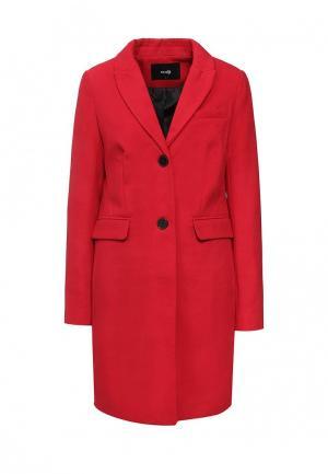 Пальто oodji. Цвет: красный