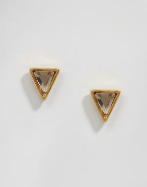 Orelia Серьги-гвоздики с хрустальными пирамидками. Цвет: золотой