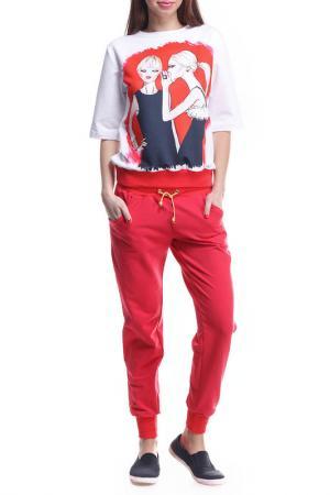 Костюм: джемпер, брюки Majaly. Цвет: красный, белый