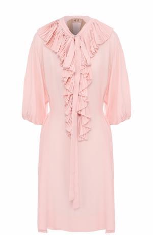 Платье свободного кроя с плиссированными оборками No. 21. Цвет: розовый