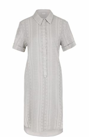 Платье-рубашка с удлиненной спинкой и вышивкой 120% Lino. Цвет: бежевый