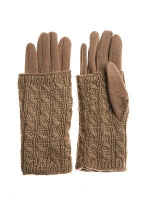 Перчатки - митенки Bijoux Land. Цвет: светло-коричневый