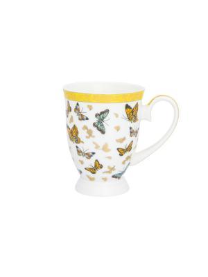 Кружка Бабочки Elan Gallery. Цвет: белый,оранжевый,золотистый