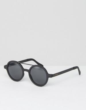 Komono Черные матовые круглые солнцезащитные очки Vivien. Цвет: черный