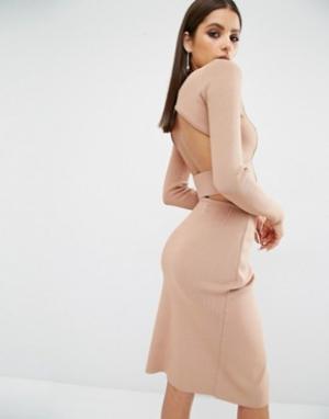 Kendall + Kylie Укороченный лонгслив. Цвет: розовый