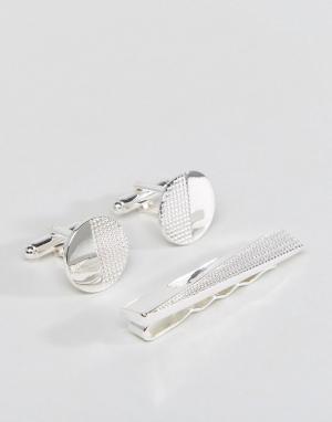 ASOS Подарочный набор с зажимом для галстука и запонками. Цвет: серебряный
