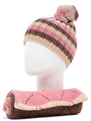 Шапка+шарф Marhatter. Цвет: светло-бежевый, серо-коричневый