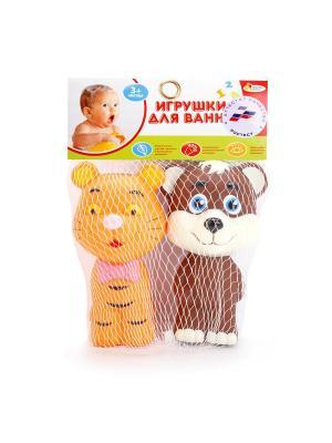 Игрушки для ванной Тигр и мишка в сетке. Играем вместе. Цвет: оранжевый, коричневый