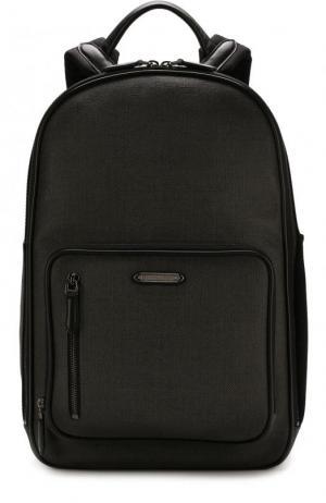 Текстильный рюкзак с двумя отделениями на молнии Ermenegildo Zegna. Цвет: темно-серый
