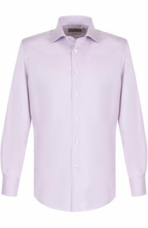 Хлопковая сорочка с воротником кент Canali. Цвет: сиреневый