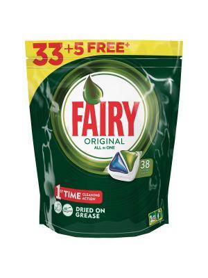 Средство для мытья посуды в капсулах посудомоечных машин 33+5шт бесплатно Fairy. Цвет: зеленый, белый