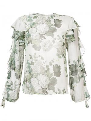 Блузка с оборками и цветочным принтом Robert Rodriguez. Цвет: белый