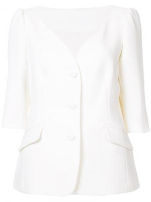 Приталенный жакет со сборками на плечах Co. Цвет: белый