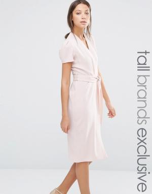 Alter Tall Платье с запахом спереди и поясом. Цвет: розовый