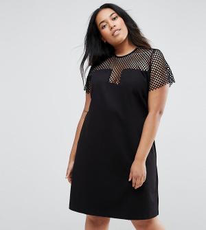 Elvi Сетчатое платье. Цвет: черный