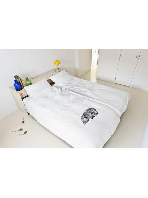 Комплект постельного белья Кошка Олли 200х220см SNURK. Цвет: белый, черный, серый
