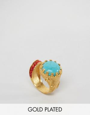 Ottoman Hands Броское кольцо с бирюзовым и красным камнями. Цвет: золотой