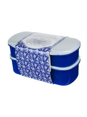 Термос-ланчбокс 1100 мл из двух контейнеров ,  Миндальное печенье Сюзанны Orval. Цвет: синий, белый