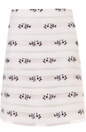 Мини-юбка А-силуэта с цветочной отделкой Giamba. Цвет: розовый